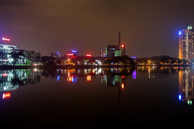 Colombo lake view at night