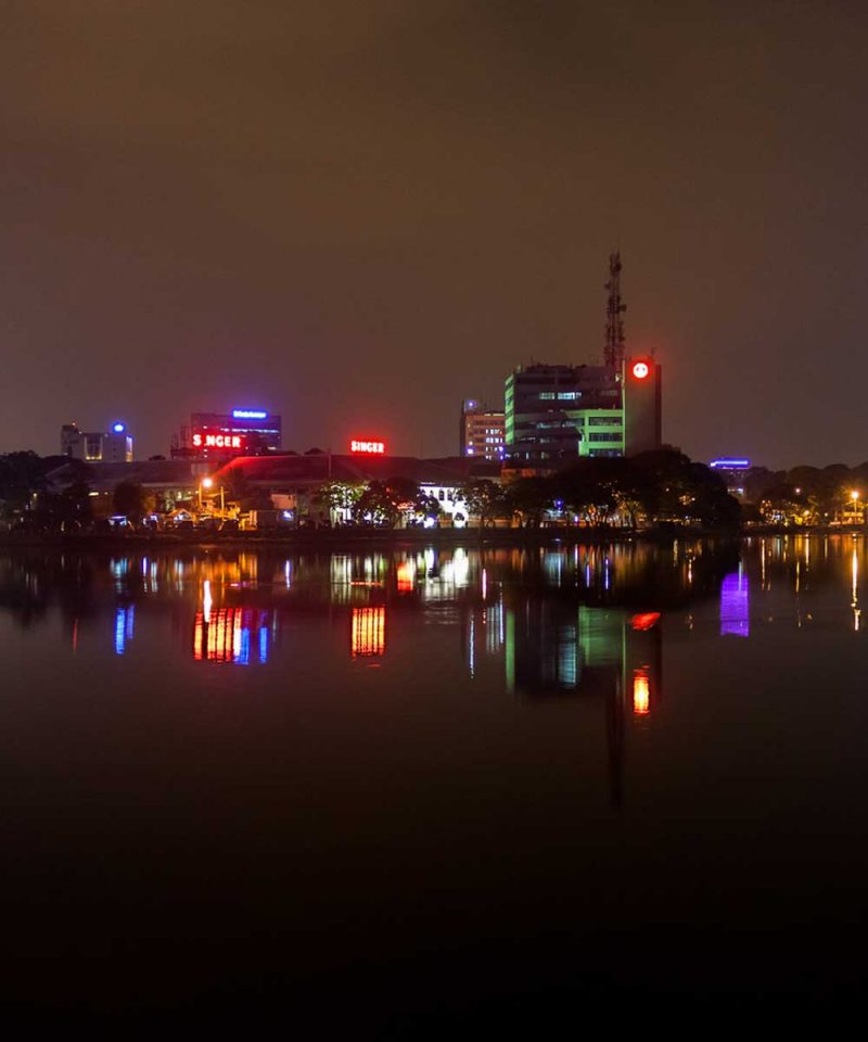 Colombo lake view at night