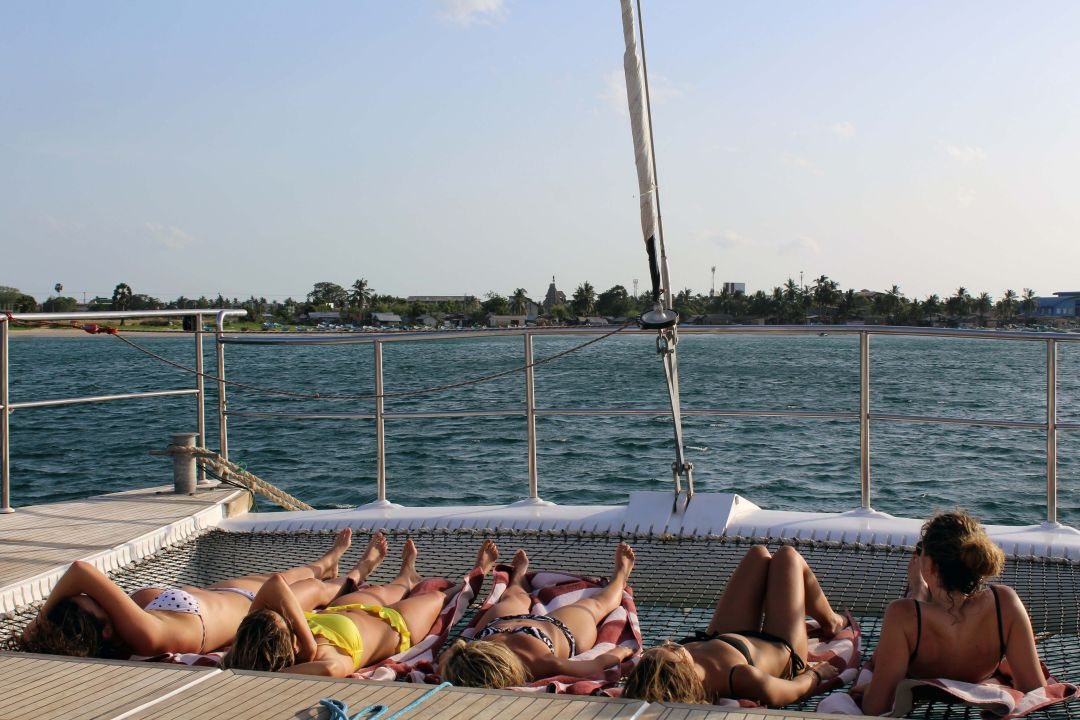 Relax on the trampoline-trincomalee-yacht